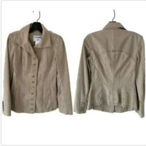 Chanel Tan Cotton-blend Military- Style Jacket